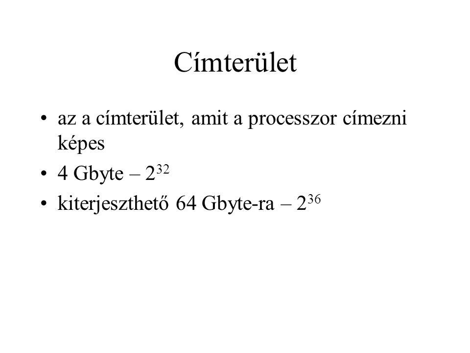 Címterület az a címterület, amit a processzor címezni képes 4 Gbyte – 2 32 kiterjeszthető 64 Gbyte-ra – 2 36