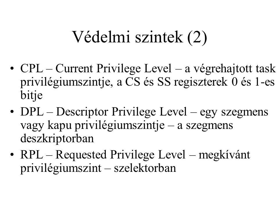 Védelmi szintek (2) CPL – Current Privilege Level – a végrehajtott task privilégiumszintje, a CS és SS regiszterek 0 és 1-es bitje DPL – Descriptor Privilege Level – egy szegmens vagy kapu privilégiumszintje – a szegmens deszkriptorban RPL – Requested Privilege Level – megkívánt privilégiumszint – szelektorban