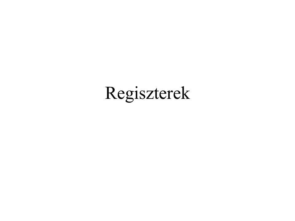 Nyomkövető regiszterek DR0–DR3 – négy független hardware töréspontot (breakpoint) definiál – lineáris cím DR4, DR5 – fenntartott DR6 – Debug Status Register – az utolsó debug kivétel felléptekor teljesült feltételek DR7 – Debug Control Register