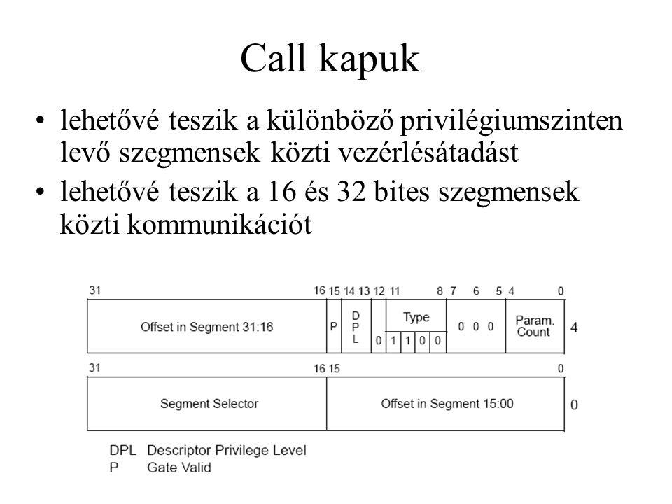 Call kapuk lehetővé teszik a különböző privilégiumszinten levő szegmensek közti vezérlésátadást lehetővé teszik a 16 és 32 bites szegmensek közti kommunikációt