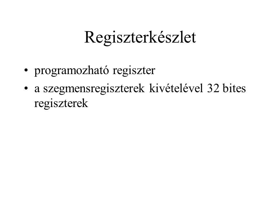 Felhasználói regiszterek 8 általános regiszter: utasítás mutató: EIP 6 szegmensregiszter: CS, SS, DS, ES, FS, GS állapotregiszter: EFLAGS