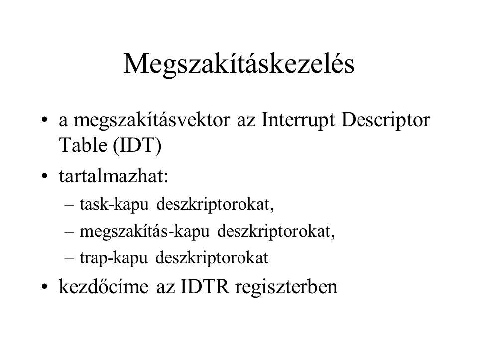 Megszakításkezelés a megszakításvektor az Interrupt Descriptor Table (IDT) tartalmazhat: –task-kapu deszkriptorokat, –megszakítás-kapu deszkriptorokat, –trap-kapu deszkriptorokat kezdőcíme az IDTR regiszterben