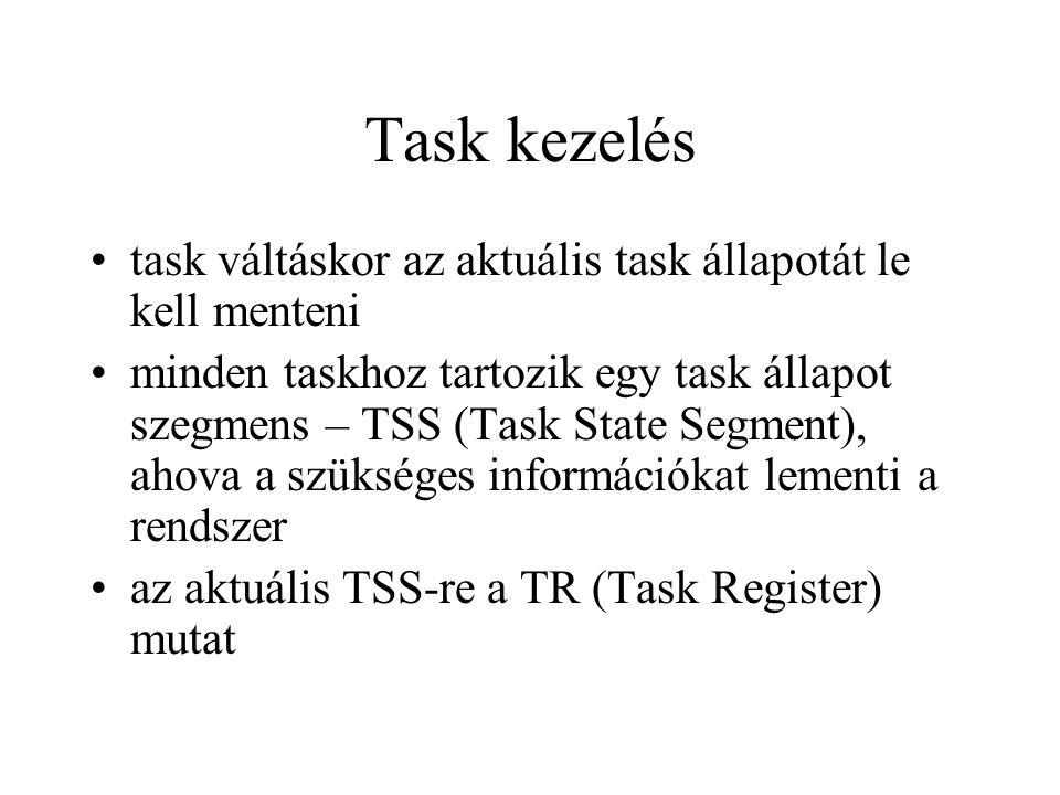 Task kezelés task váltáskor az aktuális task állapotát le kell menteni minden taskhoz tartozik egy task állapot szegmens – TSS (Task State Segment), ahova a szükséges információkat lementi a rendszer az aktuális TSS-re a TR (Task Register) mutat