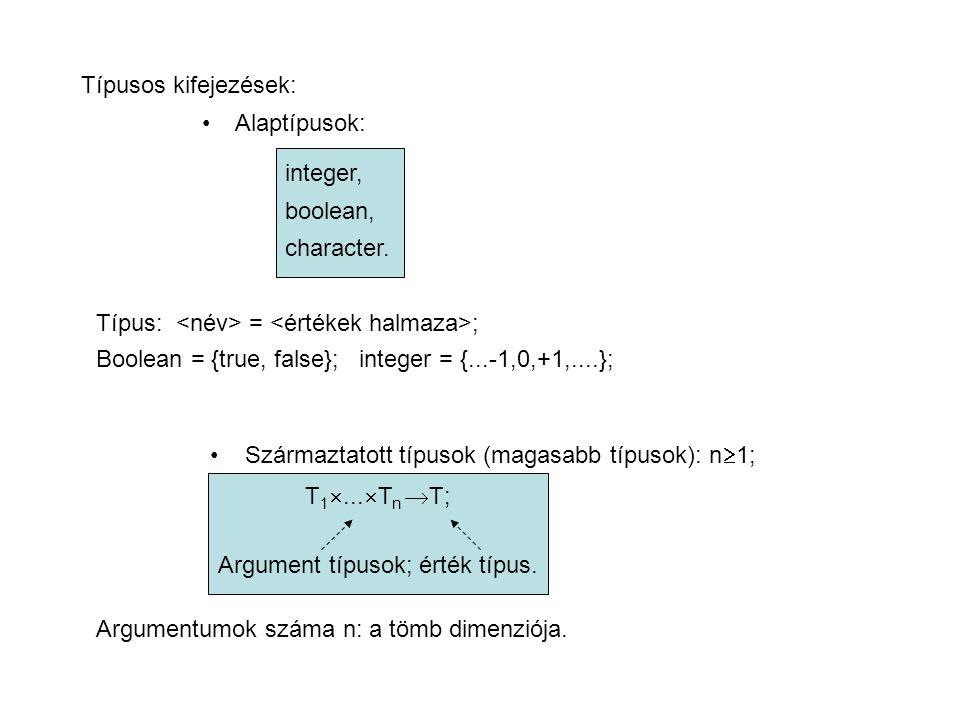 Típusos kifejezések: Alaptípusok: integer, boolean, character.