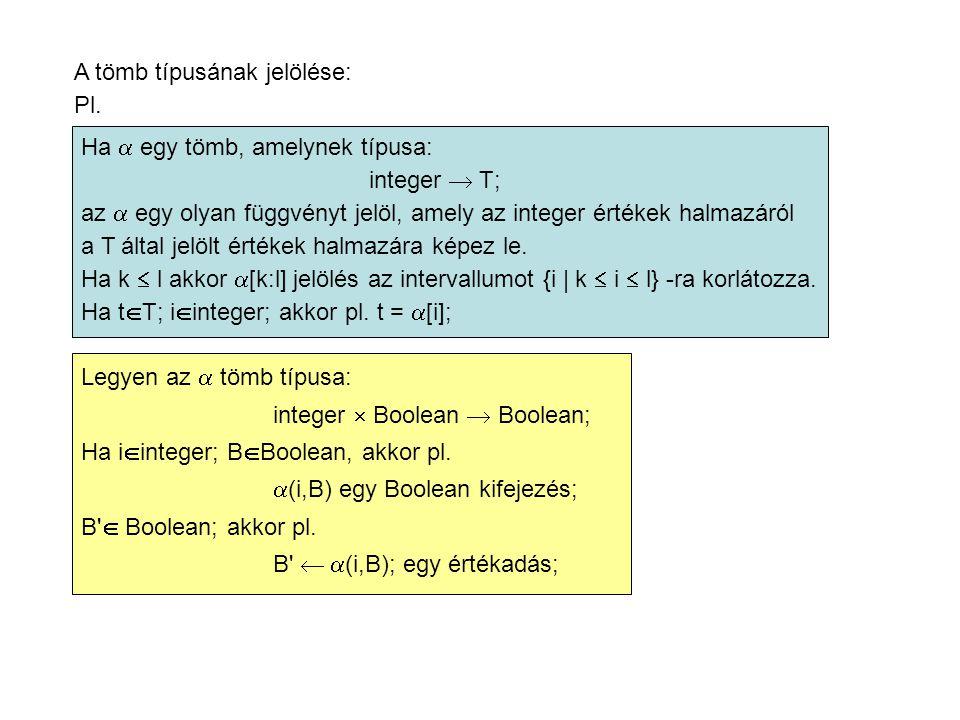 A tömb típusának jelölése: Pl.