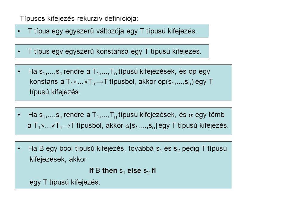 Típusos kifejezés rekurzív definíciója: T típus egy egyszerű változója egy T típusú kifejezés.