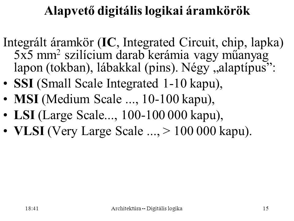 15 Alapvető digitális logikai áramkörök Integrált áramkör (IC, Integrated Circuit, chip, lapka) 5x5 mm 2 szilícium darab kerámia vagy műanyag lapon (tokban), lábakkal (pins).