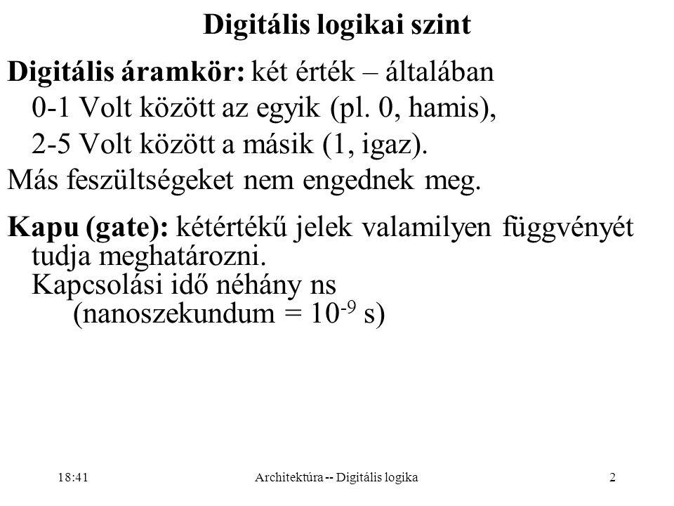 2 Digitális logikai szint Digitális áramkör: két érték – általában 0-1 Volt között az egyik (pl.