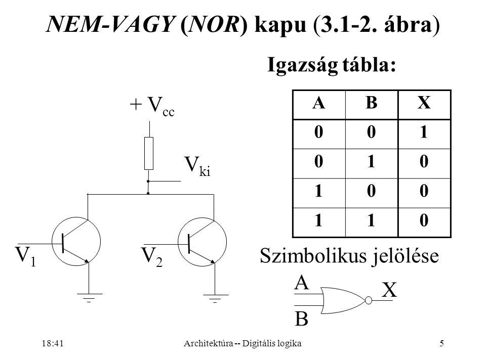 86 Hagyományos sínPCI Express Több leágazású sínKözpontosított kapcsoló Széles, párhuzamos sín Keskeny, közvetlen soros kapcsolat Bonyolult mester – szolga kapcsolatKicsi, csomagkapcsolt hálózat CRC kód: nagyobb megbízhatóság A csatlakozó kábel > 50 cm lehet Az eszköz kapcsoló is lehet Meleg csatlakoztatási lehetőség Kisebb csatlakozók: kisebb gép Nem kell nagy bővítőkártyával csatlakozni a sínhez A winchester a monitorba is kerülhet Egy csatorna hasznos sávszélessége minimum 2 Gbps, de bíznak benne, hogy hamarosan 10 Gbps Architektúra -- Digitális logika 18:43