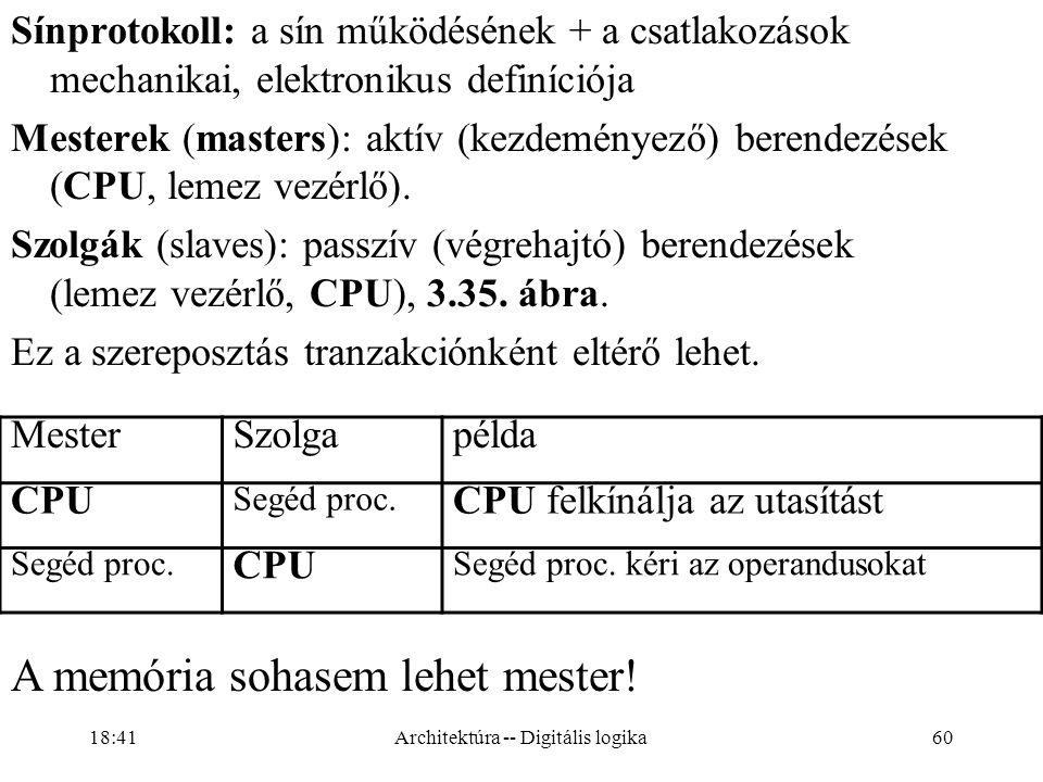 60 Sínprotokoll: a sín működésének + a csatlakozások mechanikai, elektronikus definíciója Mesterek (masters): aktív (kezdeményező) berendezések (CPU, lemez vezérlő).