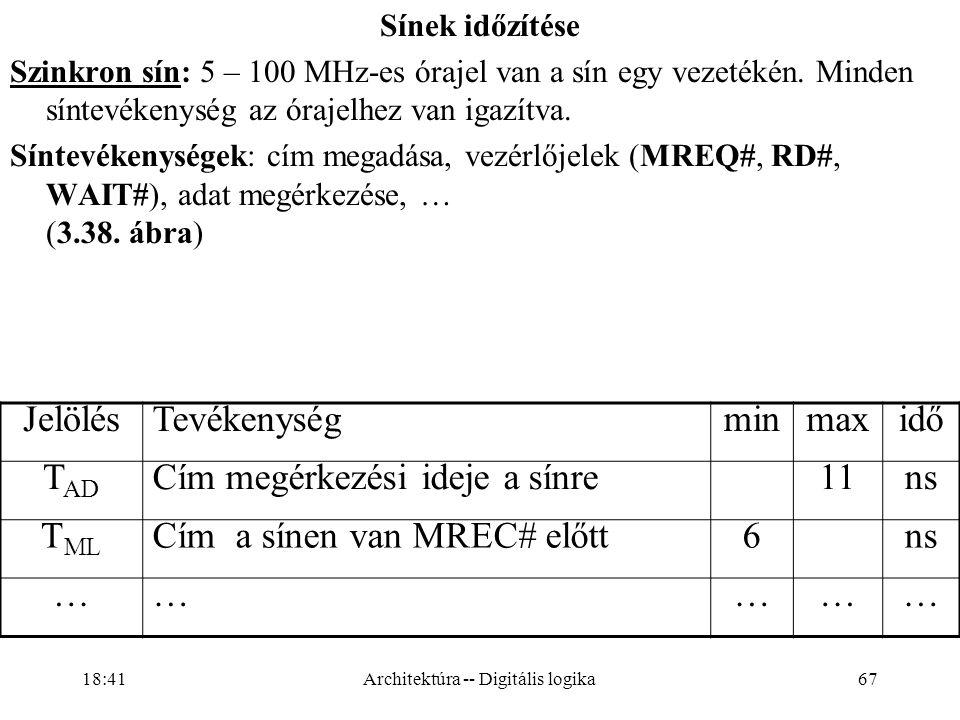 67 Sínek időzítése Szinkron sín: 5 – 100 MHz-es órajel van a sín egy vezetékén.