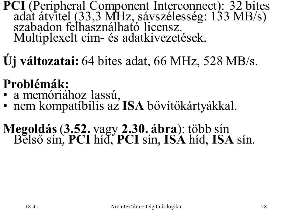 78 PCI (Peripheral Component Interconnect): 32 bites adat átvitel (33,3 MHz, sávszélesség: 133 MB/s) szabadon felhasználható licensz.
