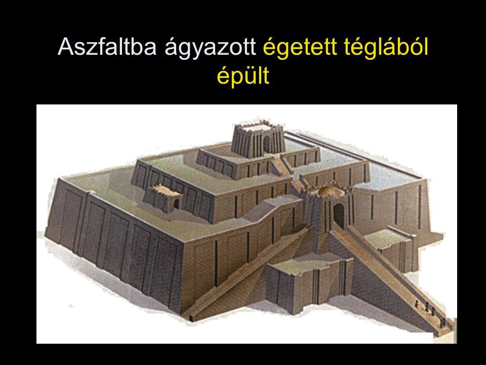 Aszfaltba ágyazott égetett téglából épült