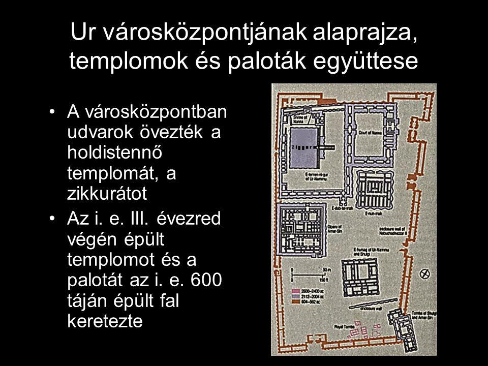 Ur városközpontjának alaprajza, templomok és paloták együttese A városközpontban udvarok övezték a holdistennő templomát, a zikkurátot Az i. e. III. é