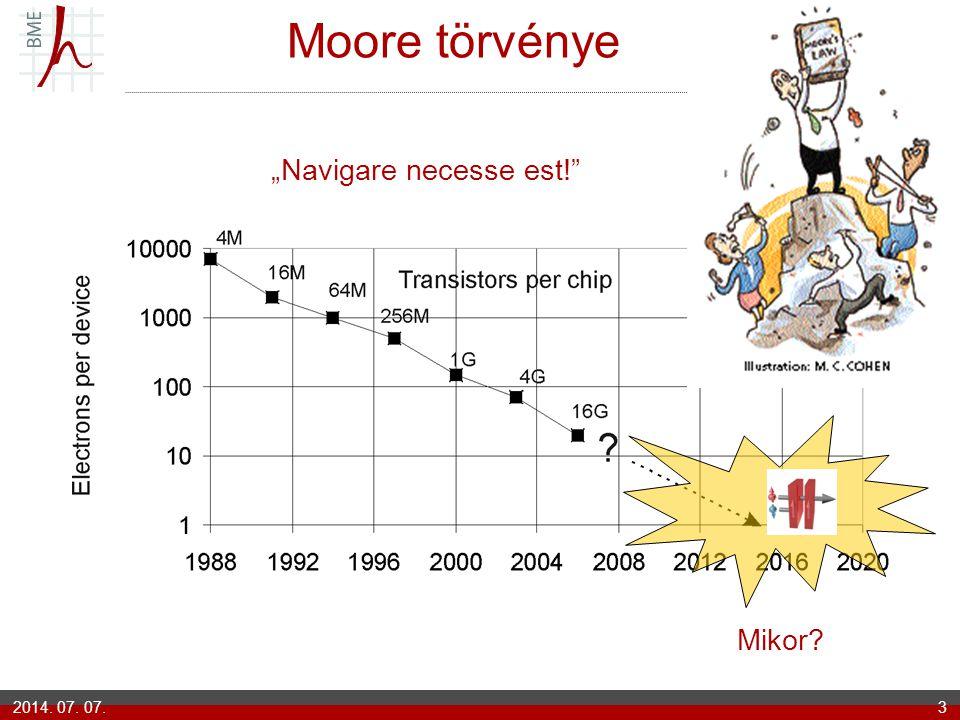 """2014. 07. 07.3 Moore törvénye Mikor? """"Navigare necesse est!"""""""