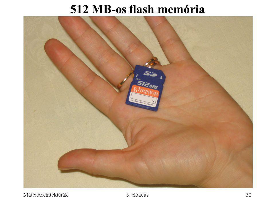 Máté: Architektúrák3. előadás32 512 MB-os flash memória