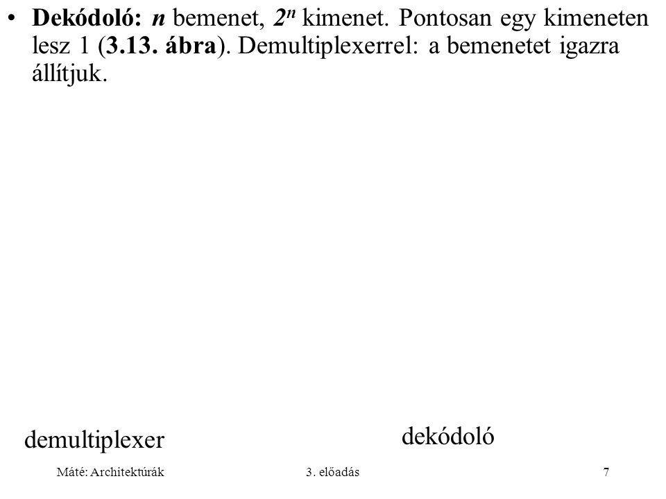 Máté: Architektúrák3.előadás7 dekódoló demultiplexer Dekódoló: n bemenet, 2 n kimenet.