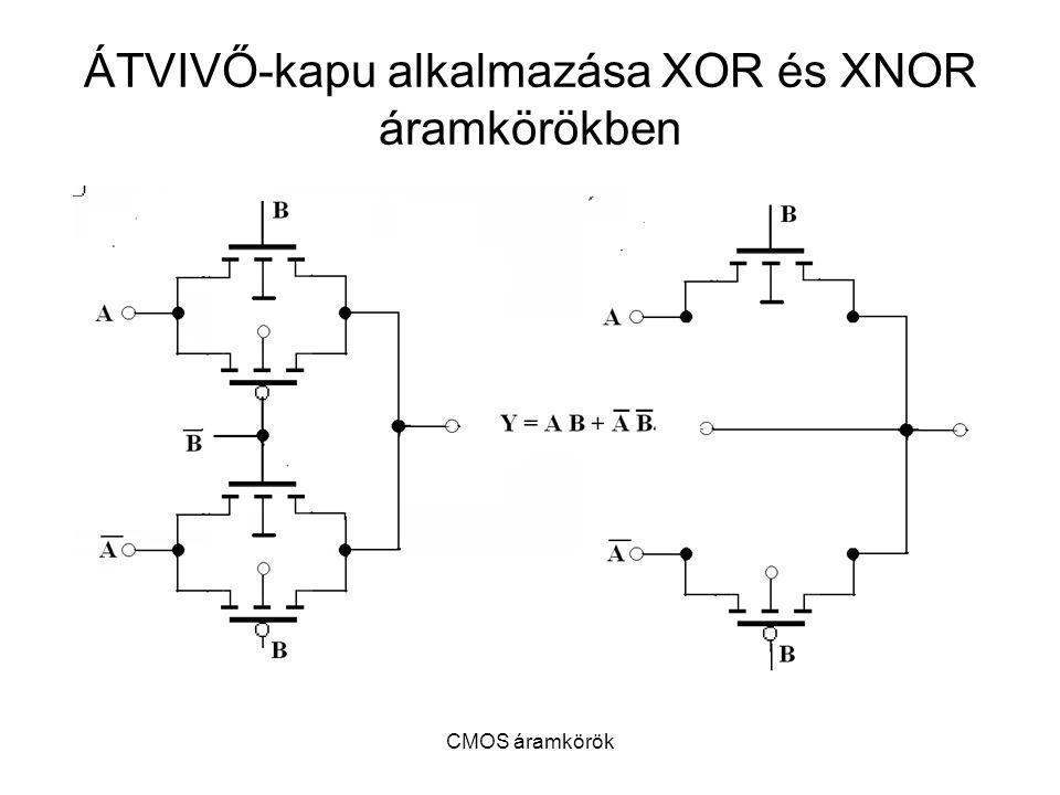 CMOS áramkörök ÁTVIVŐ-kapu alkalmazása XOR és XNOR áramkörökben