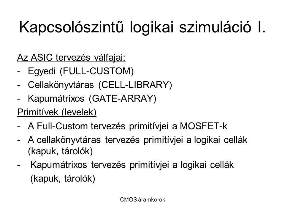 CMOS áramkörök Kapcsolószintű logikai szimuláció I. Az ASIC tervezés válfajai: -Egyedi (FULL-CUSTOM) -Cellakönyvtáras (CELL-LIBRARY) -Kapumátrixos (GA