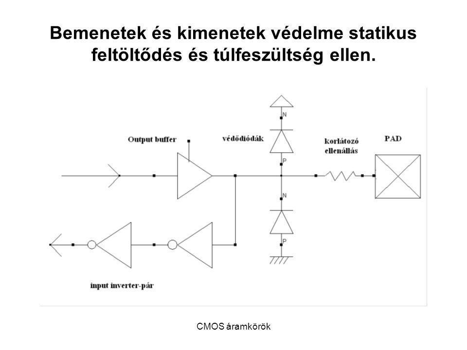 CMOS áramkörök Bemenetek és kimenetek védelme statikus feltöltődés és túlfeszültség ellen.