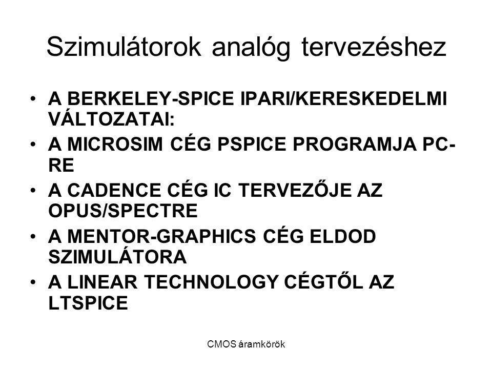 CMOS áramkörök Szimulátorok analóg tervezéshez A BERKELEY-SPICE IPARI/KERESKEDELMI VÁLTOZATAI: A MICROSIM CÉG PSPICE PROGRAMJA PC- RE A CADENCE CÉG IC