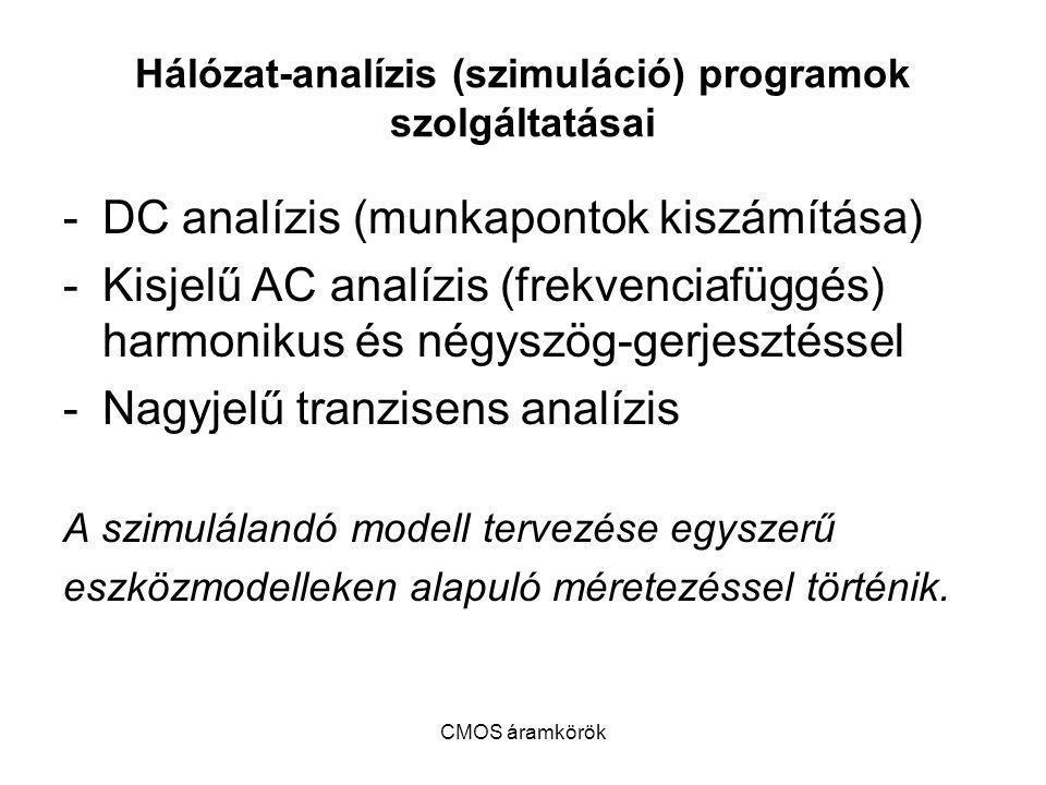 CMOS áramkörök Hálózat-analízis (szimuláció) programok szolgáltatásai -DC analízis (munkapontok kiszámítása) -Kisjelű AC analízis (frekvenciafüggés) h