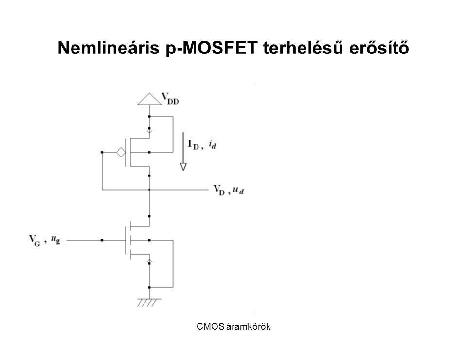 CMOS áramkörök Nemlineáris p-MOSFET terhelésű erősítő