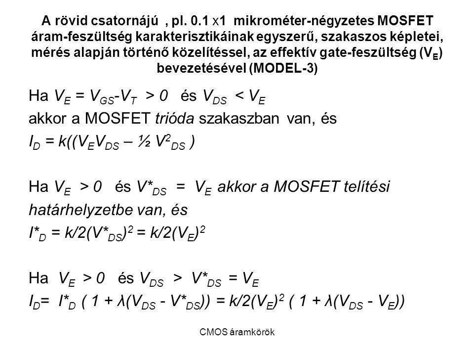 CMOS áramkörök A rövid csatornájú, pl. 0.1 x1 mikrométer-négyzetes MOSFET áram-feszültség karakterisztikáinak egyszerű, szakaszos képletei, mérés alap