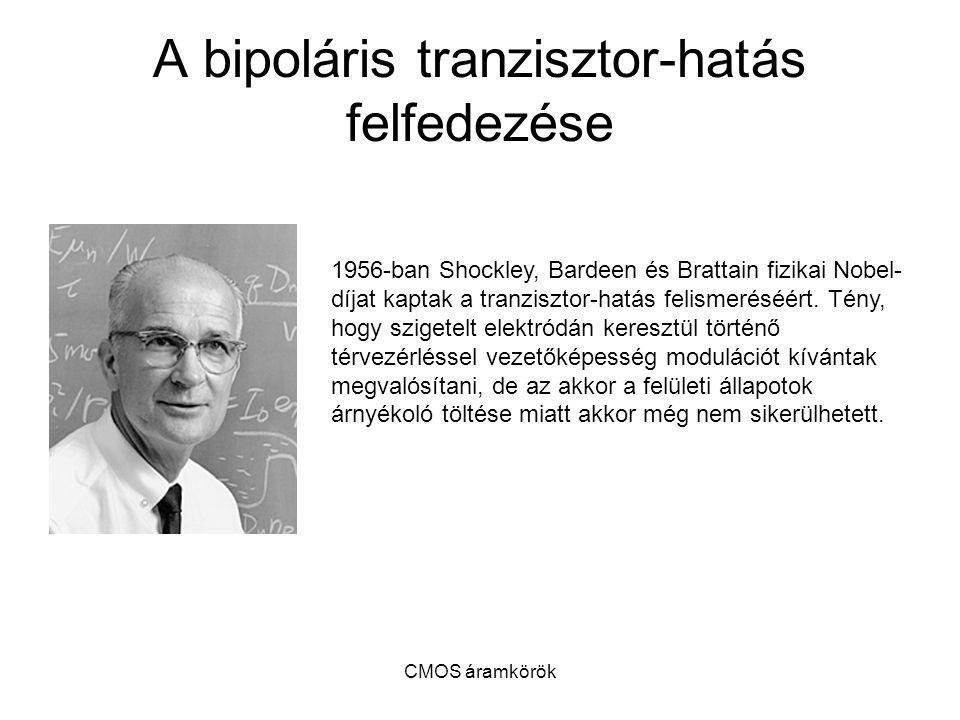 CMOS áramkörök A bipoláris tranzisztor-hatás felfedezése 1956-ban Shockley, Bardeen és Brattain fizikai Nobel- díjat kaptak a tranzisztor-hatás felism