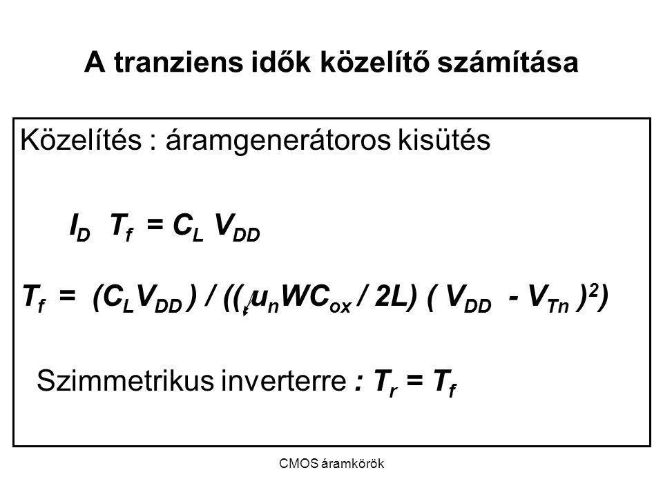 CMOS áramkörök A tranziens idők közelítő számítása Közelítés : áramgenerátoros kisütés I D T f = C L V DD T f = (C L V DD ) / (( u n WC ox / 2L) ( V D