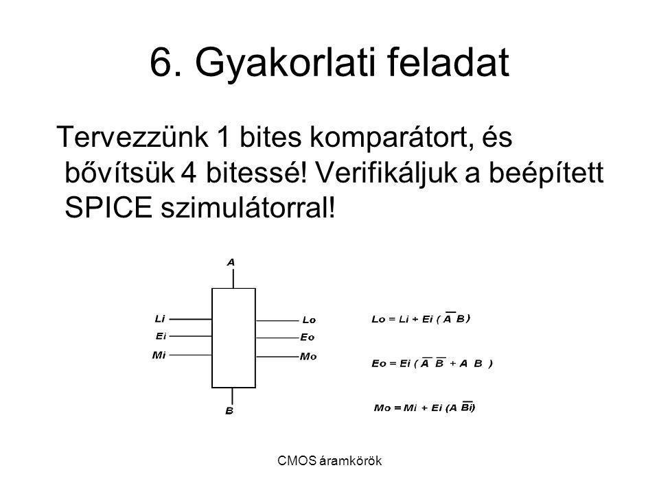 CMOS áramkörök 6. Gyakorlati feladat Tervezzünk 1 bites komparátort, és bővítsük 4 bitessé! Verifikáljuk a beépített SPICE szimulátorral!
