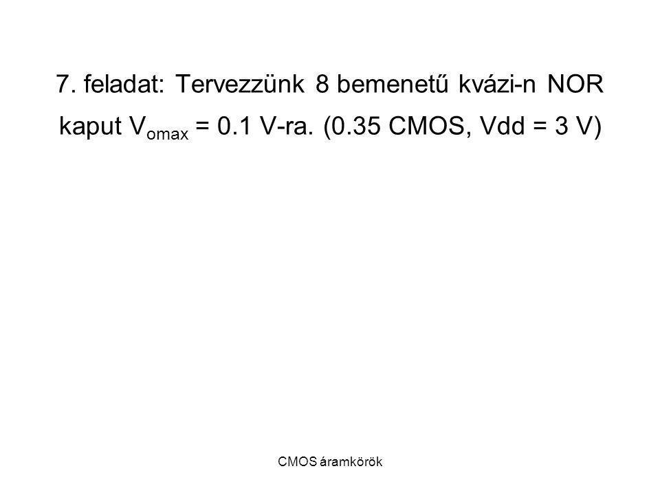 CMOS áramkörök 7. feladat: Tervezzünk 8 bemenetű kvázi-n NOR kaput V omax = 0.1 V-ra. (0.35 CMOS, Vdd = 3 V)