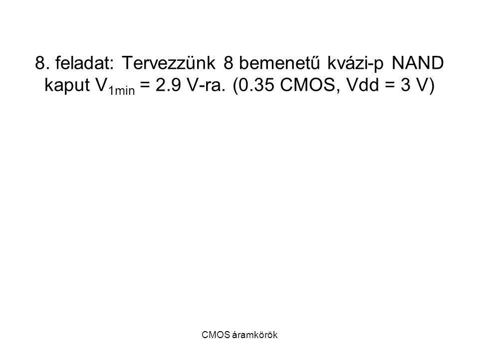 CMOS áramkörök 8. feladat: Tervezzünk 8 bemenetű kvázi-p NAND kaput V 1min = 2.9 V-ra. (0.35 CMOS, Vdd = 3 V)