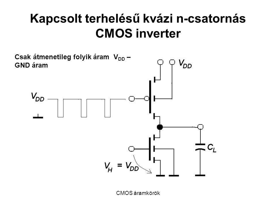 CMOS áramkörök Kapcsolt terhelésű kvázi n-csatornás CMOS inverter Csak átmenetileg folyik áram V DD – GND áram