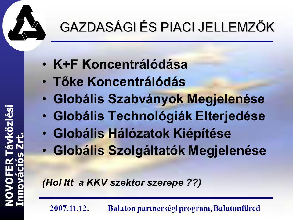 GAZDASÁGI ÉS PIACI JELLEMZŐK K+F Koncentrálódása Tőke Koncentrálódás Globális Szabványok Megjelenése Globális Technológiák Elterjedése Globális Hálózatok Kiépítése Globális Szolgáltatók Megjelenése (Hol Itt a KKV szektor szerepe ??) Innovációs Zrt.