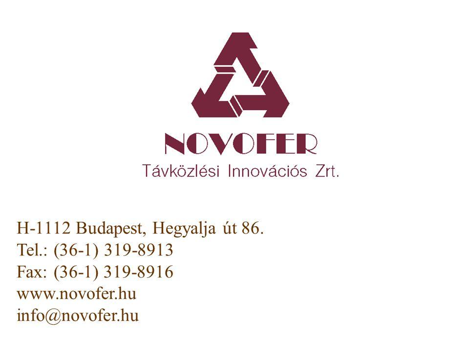 H-1112 Budapest, Hegyalja út 86. Tel.: (36-1) 319-8913 Fax: (36-1) 319-8916 www.novofer.hu info@novofer.hu