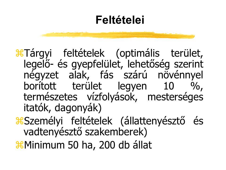 Feltételei zTárgyi feltételek (optimális terület, legelő- és gyepfelület, lehetőség szerint négyzet alak, fás szárú növénnyel borított terület legyen