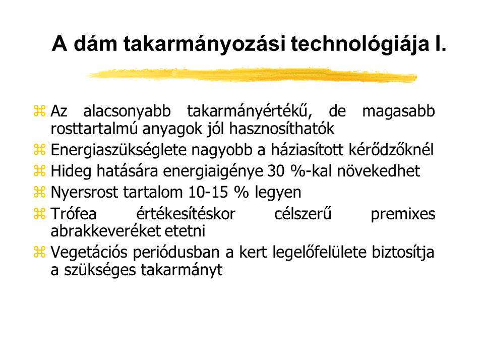 A dám takarmányozási technológiája I. zAz alacsonyabb takarmányértékű, de magasabb rosttartalmú anyagok jól hasznosíthatók zEnergiaszükséglete nagyobb