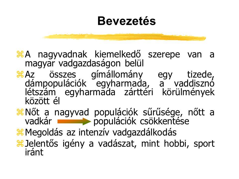 Bevezetés zA nagyvadnak kiemelkedő szerepe van a magyar vadgazdaságon belül zAz összes gímállomány egy tizede, dámpopulációk egyharmada, a vaddisznó l