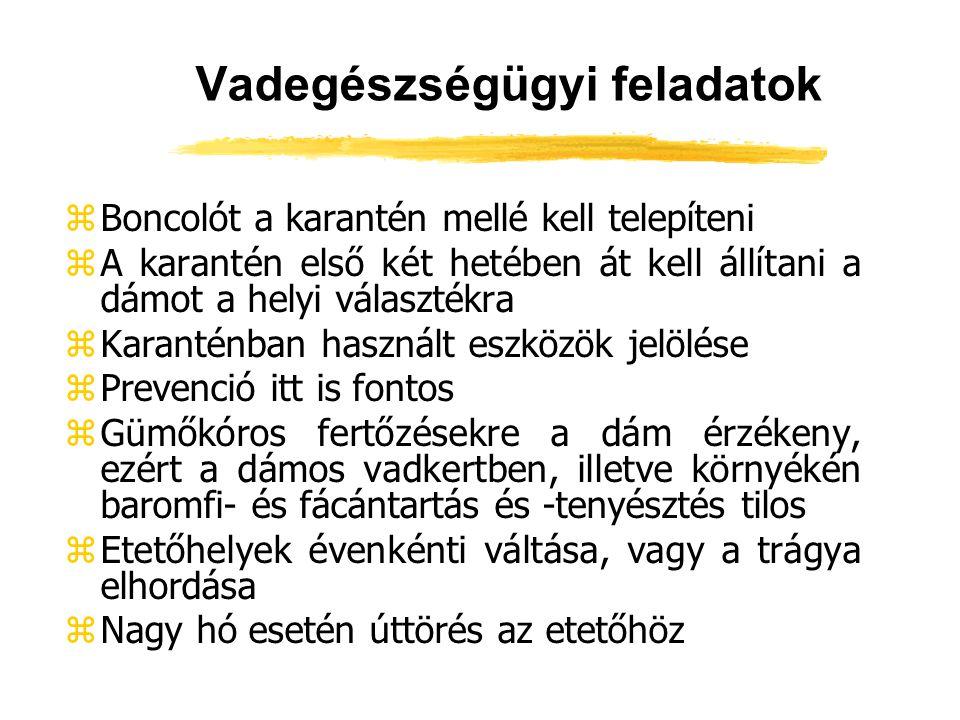 Vadegészségügyi feladatok zBoncolót a karantén mellé kell telepíteni zA karantén első két hetében át kell állítani a dámot a helyi választékra zKarant