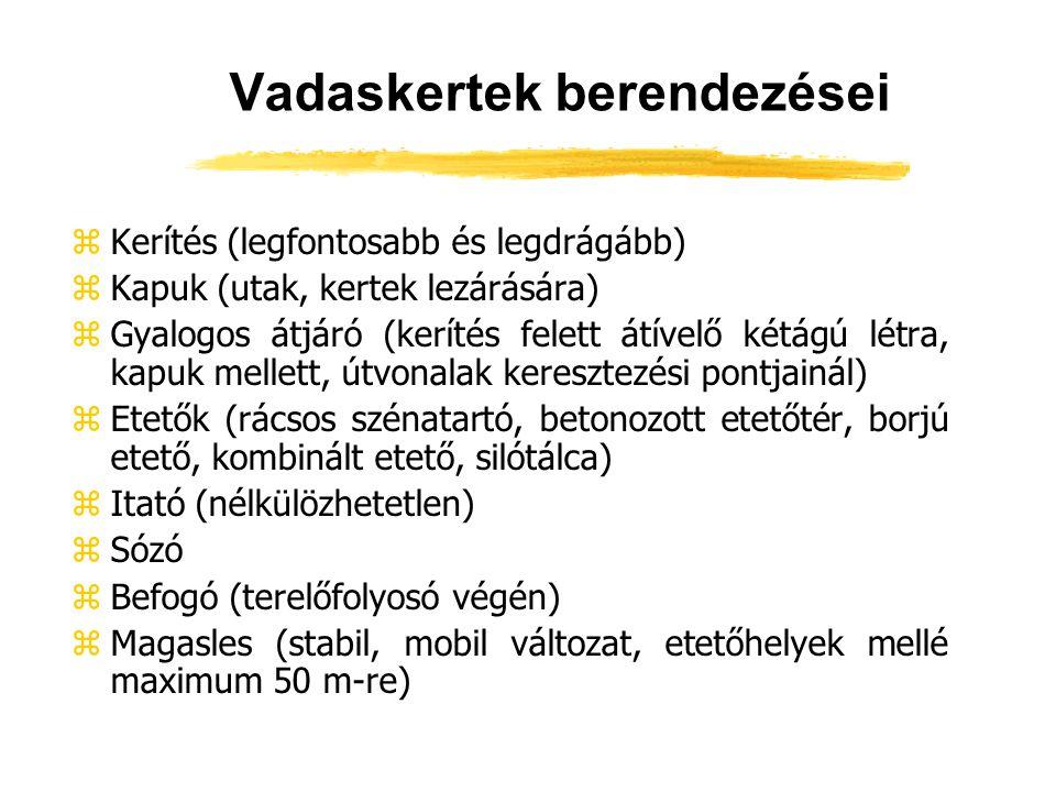 Vadaskertek üzemeltetése zBetelepítés zEllés zLegelőművelés zAgancstalanítás zLeválasztás zBefogás zBélsárvizsgálat (negyedévenként endoparazitás fertőzöttség meghatározása miatt) zKerítésellenőrzés (hetente legalább kétszer) zTakarmányozás