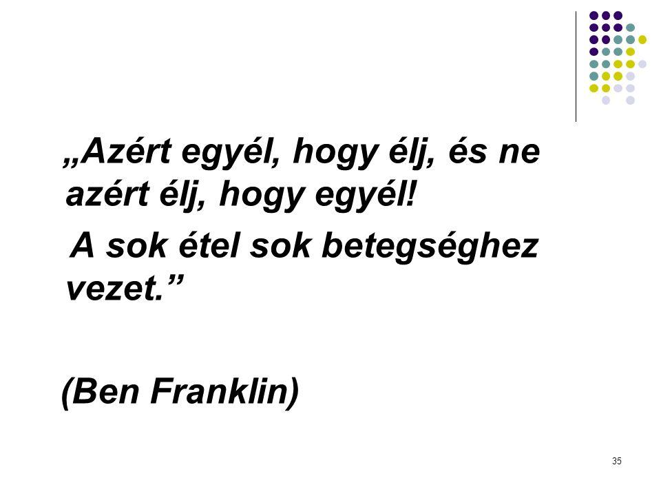 """35 """"Azért egyél, hogy élj, és ne azért élj, hogy egyél! A sok étel sok betegséghez vezet."""" (Ben Franklin)"""
