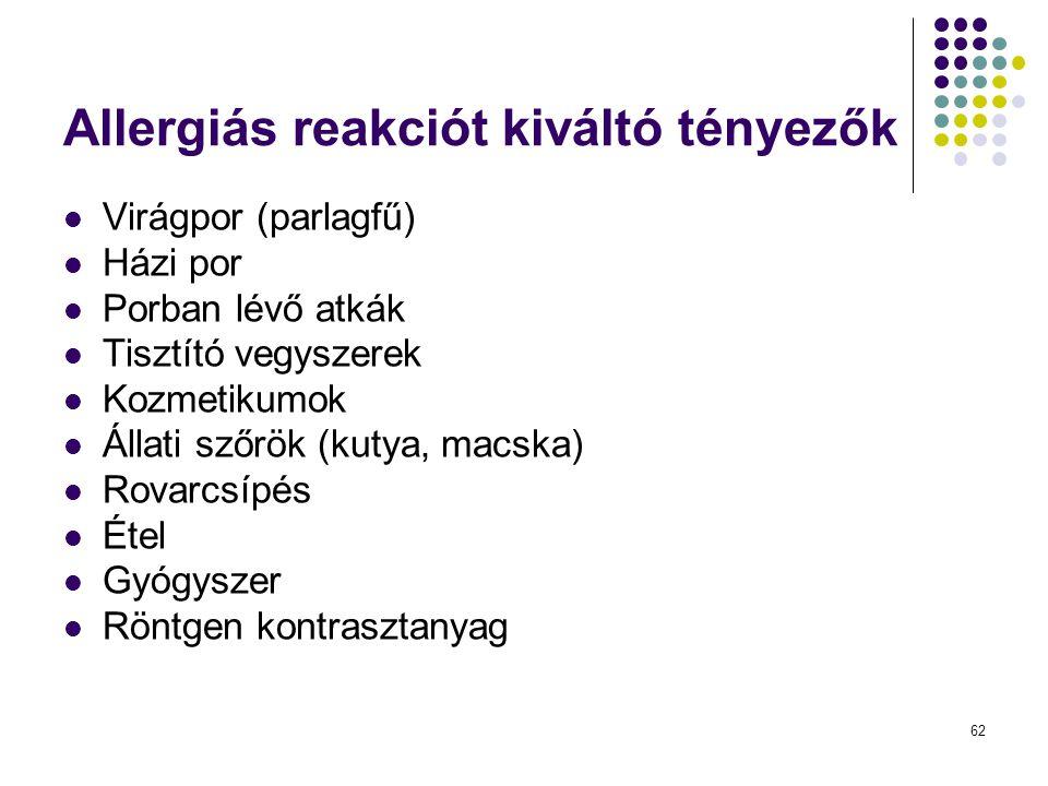 62 Allergiás reakciót kiváltó tényezők Virágpor (parlagfű) Házi por Porban lévő atkák Tisztító vegyszerek Kozmetikumok Állati szőrök (kutya, macska) R