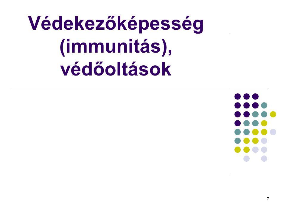 7 Védekezőképesség (immunitás), védőoltások