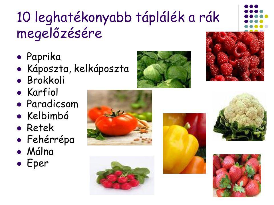 96 10 leghatékonyabb táplálék a rák megelőzésére Paprika Káposzta, kelkáposzta Brokkoli Karfiol Paradicsom Kelbimbó Retek Fehérrépa Málna Eper