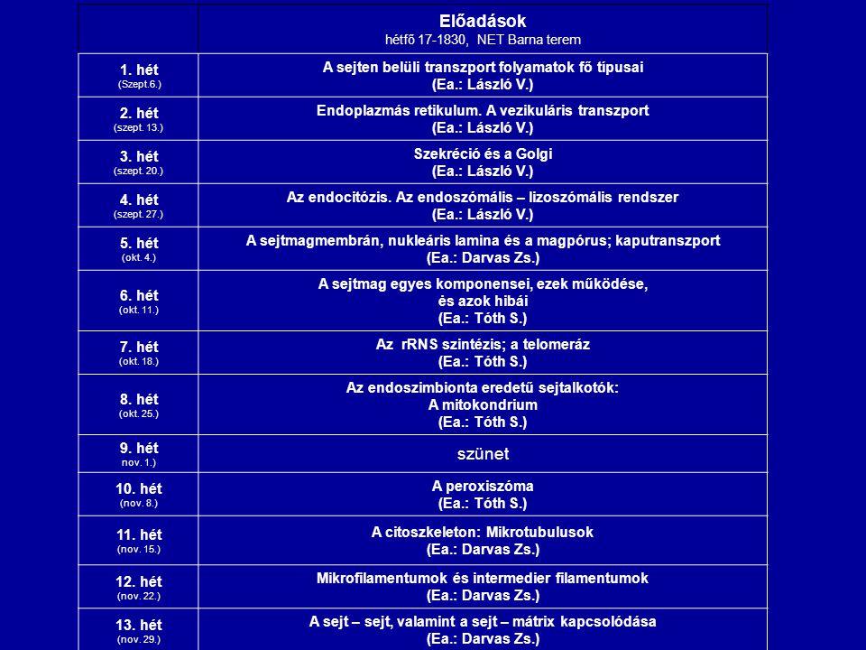 Előadások hétfő 17-1830, NET Barna terem 1. hét (Szept.6.) A sejten belüli transzport folyamatok fő típusai (Ea.: László V.) 2. hét (szept. 13.) Endop