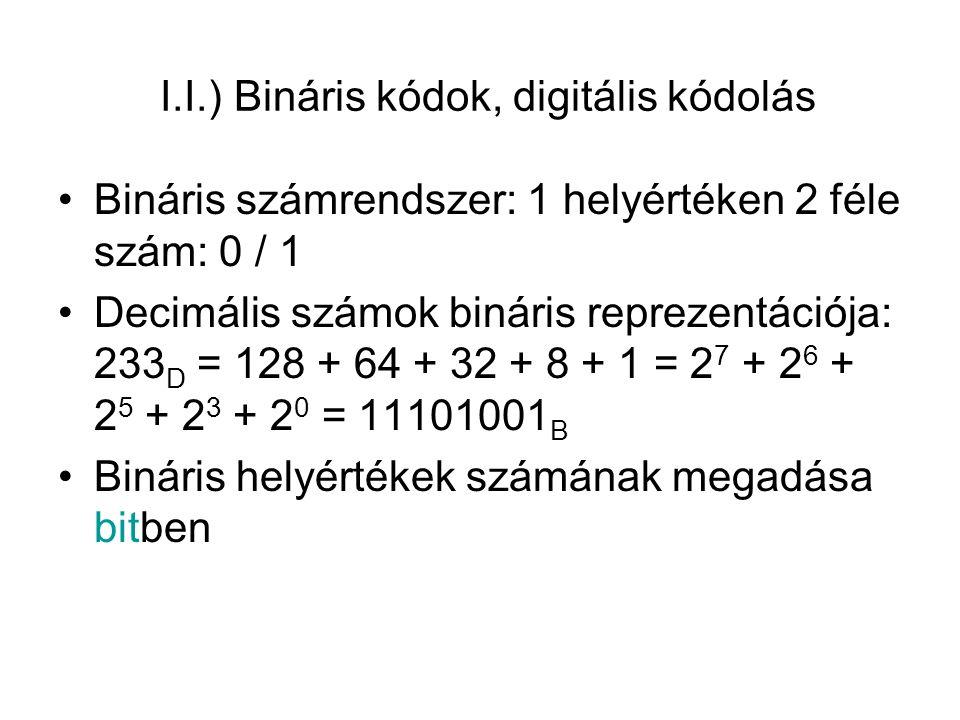 I.II.) Logikai algebra alapműveletei Logikai függvény: kapcsolás ki-, és bemenete között teremt kapcsolatot ÉS kapcsolat: Q=1 ↔ E1=1 és E2=1 Q = E1*E2 VAGY kapcsolat: Q=0 ↔ E1=0 és E2=0 Q = E1 + E2 INVERTÁLÁS: Q=1 ↔ E=0 Q = E
