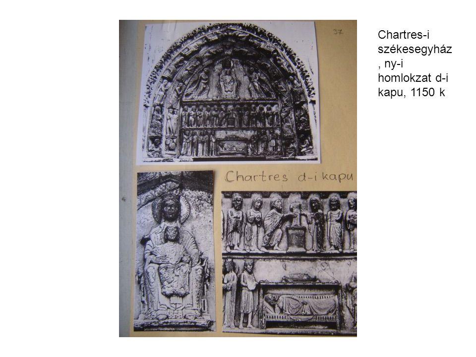 Chartres-i székesegyház, ny-i homlokzat d-i kapu, 1150 k
