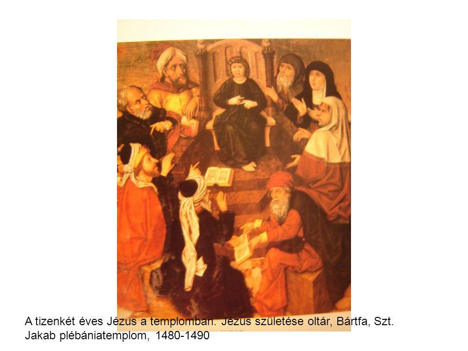 A tizenkét éves Jézus a templomban. Jézus születése oltár, Bártfa, Szt. Jakab plébániatemplom, 1480-1490