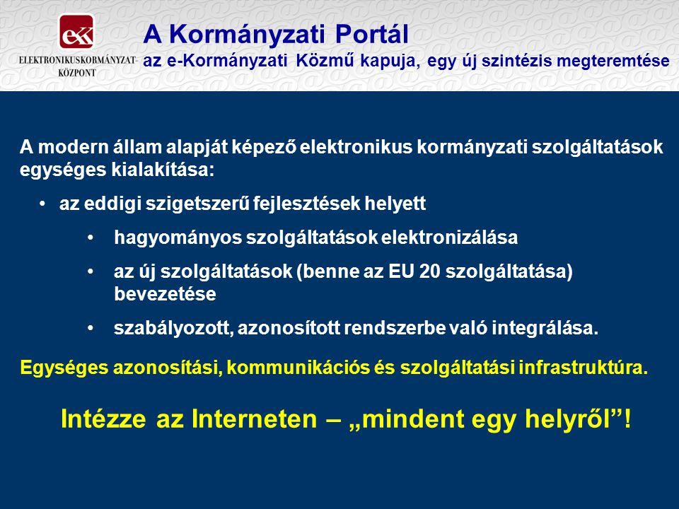 A Kormányzati Portál az e-Kormányzati Közmű kapuja, e gy új szintézis megteremtése A modern állam alapját képező elektronikus kormányzati szolgáltatás